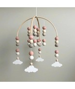 Crib Bed Hanging Baby Rotating Music Wooden Beads Wool Balls Wind Chimes... - $24.62