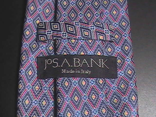 Jos A Bank Neck Tie Made in Italy Silk Diamonds of Blues with Golds and Reds