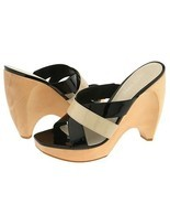 Nine West Winx Shoes Chunky Dress Heels Platform Leather Black Tan Women... - $32.00