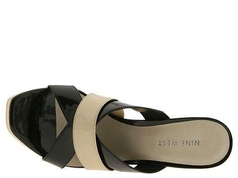 Nine West Size 9.5 Winx Shoes Chunky Dress Heels Platform Leather Black Womens