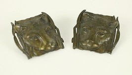 "Vintage Jaguar Cat Leopard Bronze Tone "" JJ JONETTE "" Earrings Costume J... - $18.89"