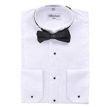 Berlioni Italy Men's Tuxedo Dress Shirt Wingtip & Laydown Collar With Bow-Tie (2