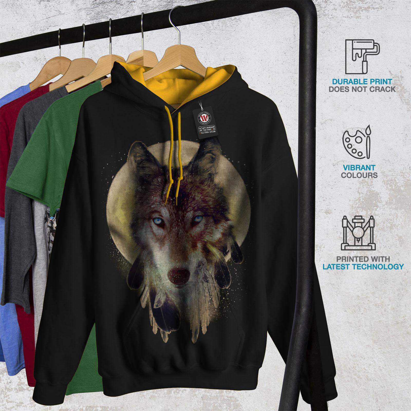 Wolf Dream Catcher Sweatshirt Hoody Wild Tribal Men Contrast Hoodie