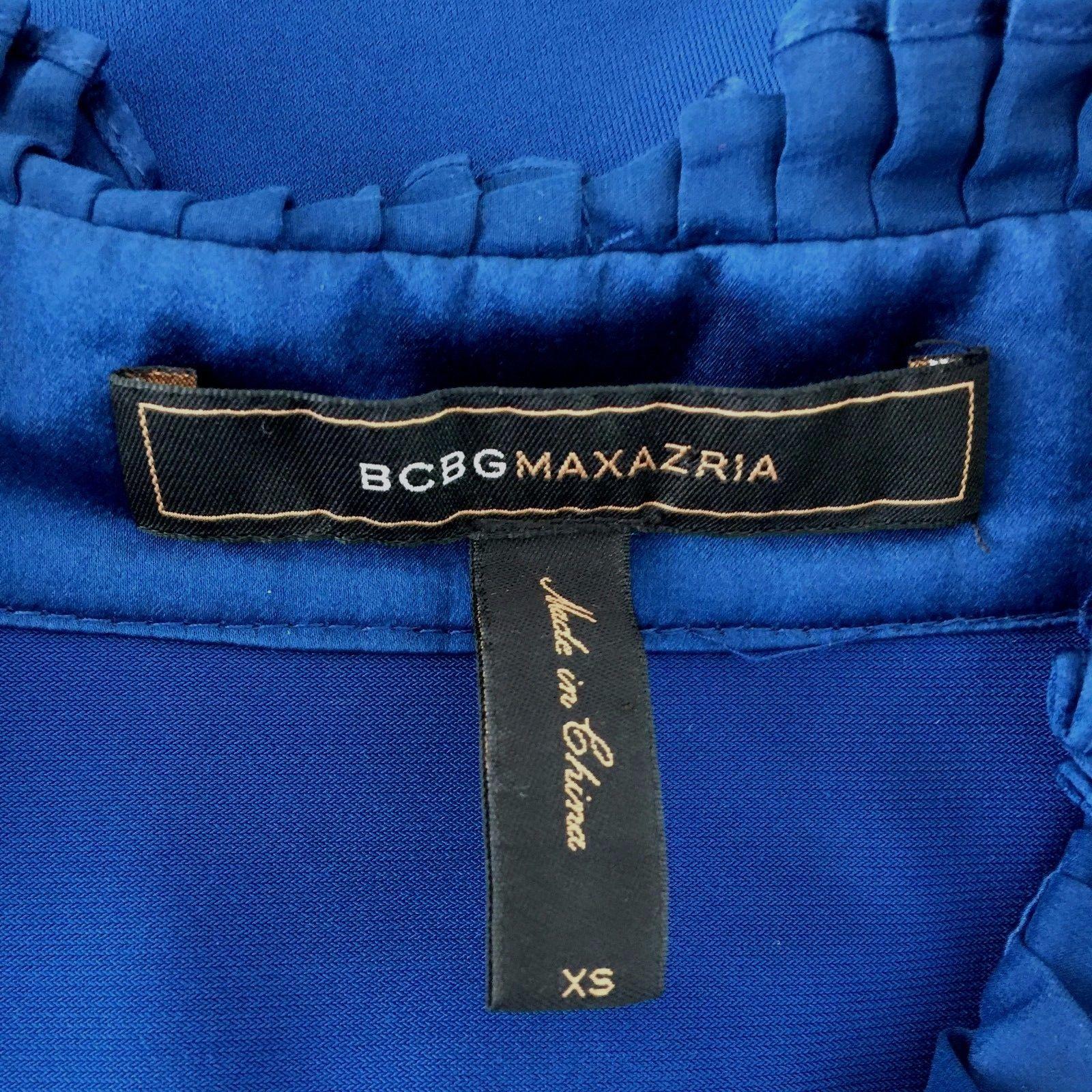 BCBG Max Azria Dress XS Midnight Blue Silk Ruffle Pocket Jersey Stretch