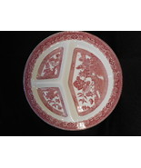 "Vintage English Pink Willow Transfer ware 10 1/2"" Pink White Grill Plate - $20.79"