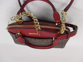 TEST Michael Kors Small Emmy Dome Satchel Brown / Cherry Handbag + 7% off - $3.699,14 MXN