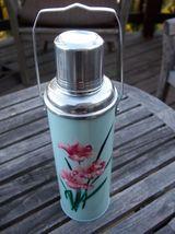 "Vintage Metal Thermos Handle Flowers Floral Light Blue Teal Aqua Pink 12"" - $59.95"