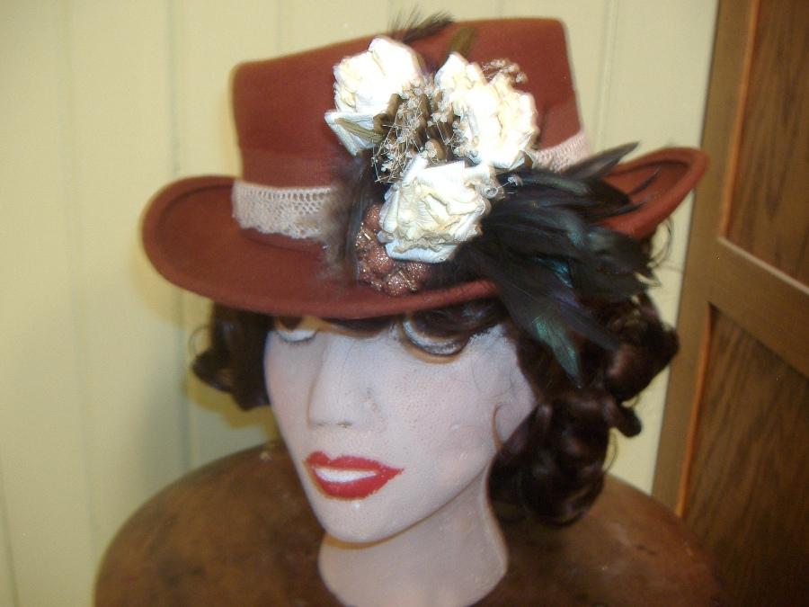 Wool hat Victorian prairie feathers derby fedora rust