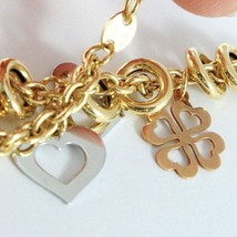 Gold Bracelet Yellow White Pink 18K 750, Circles, Four-Leaf Clover & Hearts, Cmd image 2