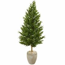 "Multicolor 62"" Olive Cone Topiary Artificial Tree in Sand Colored Planter UV Res - $330.71"