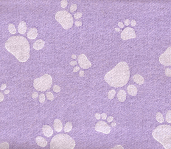 "Primary image for Flannel Fabric Purple Lavender Paw Print 45"" X 36"""