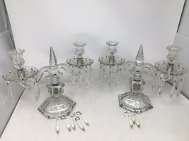Pair of Heisey Old Williamsburg Clear Glass 2 Light Short Candelabra W/ Prisms - $243.10