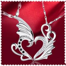 USA Men Women New Stainless Angel Wings Heart Shape Pendant Couple Neckl... - $17.81