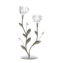 Flower Candleholder, Metallic Candle Holders, Crystal Dual Flower Candle... - £22.42 GBP