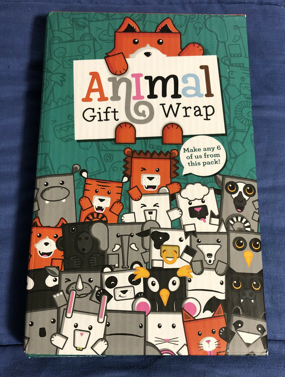 Primary image for Animal Gift Wrap Wrapping Paper Make 6 Cardboard Animal Shaped Gifts By Luckies