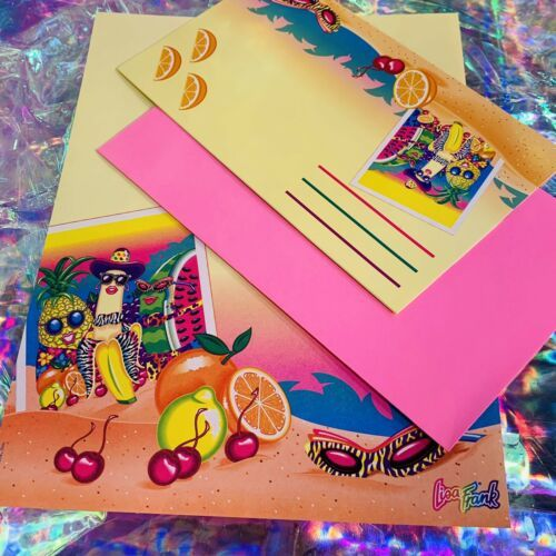 Vintage Lisa Frank Single Letter Set Stationery FABULOUS FRUIT Postalette &sheet