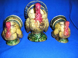 3 NAPCO Turkeys, Two Candle Holders, One Planter,Candy Dish, Potpourri D... - $20.99