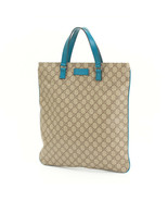 GUCCI Leather Tote Bag GG Pattern Blue Authentic women Handbag - $261.30