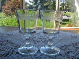 ANTIQUE EAPG Wine Stem - Pair - Scalloped Tape -1880 - $18.00