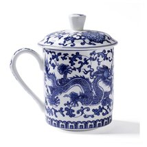 ufengke White And Blue Bone China Porcelain Tea Cup With Lid, Blue Drago... - $23.00