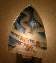 Northern Lights Moose Family Fused Art Glass Night Light Lodge Made in E... - $24.70