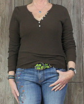 Gap L size Brown Blouse Thermal Style Henley Top Womens Casual Cotton Blnd Shirt - $9.89