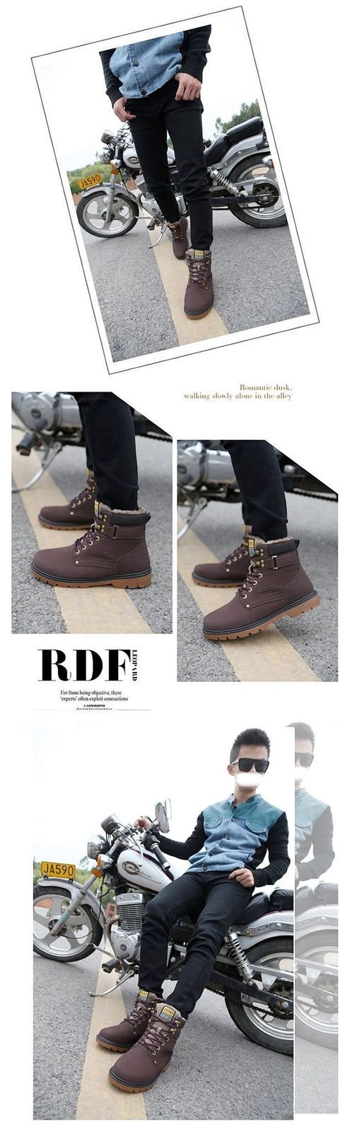 BDF Quality Fashion Men Snow Boot Winter Footwear With Fur Ankle Shoes Faux Lea