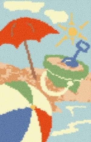 Latch Hook Rug Pattern Chart: AT THE BEACH - EMAIL2u