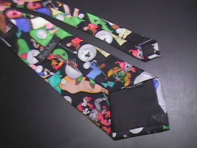 Nicole Miller Neck Tie Golf Theme Any Excuse To Go Golfing 1991 Silk Black