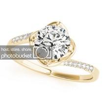 0.98 Carat White Diamond 14k Yellow Gold Over 925 Engagement Wedding Ring - $53.61