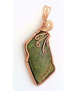 Green Jasper Copper Wire Wrap Pendant 43 - $27.95