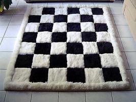 Designer alpaca fur carpet, black and white, chess design, 200 x 220 cm - $769.70