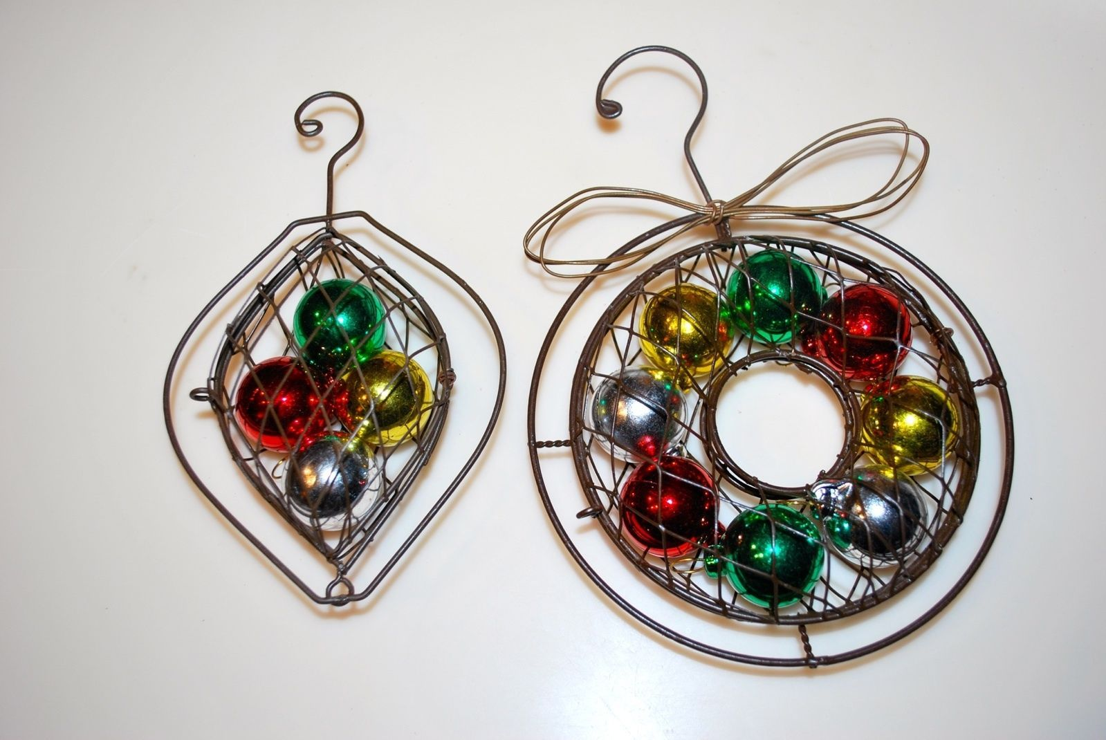 Rustic Metal Net Colored Ball Wreath Ornaments Lot Set of 2