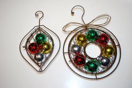 Rustic Metal Net Colored Ball Wreath Ornaments Lot Set of 2 - $9.95