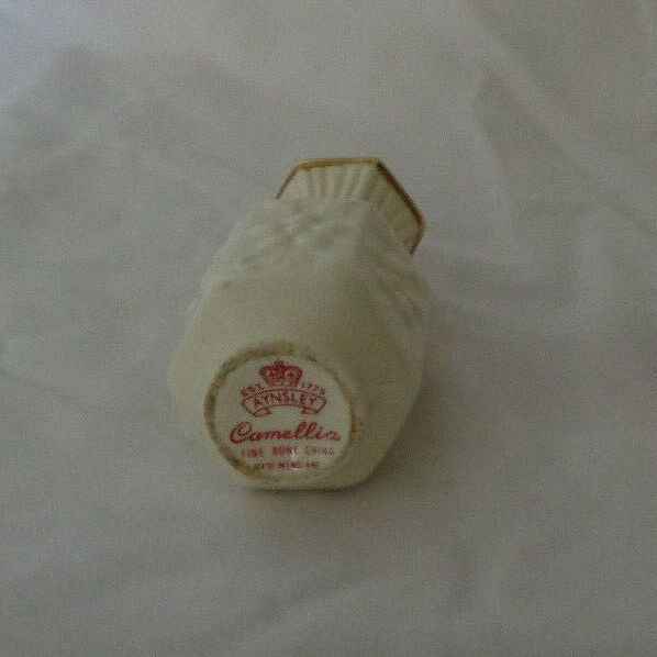 "Miniature Aynsley Bud Vase Camellia Cream pattern 3 1/2"" tall image 3"
