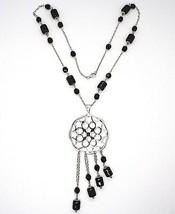 Collier Argent 925, Onyx Noir Tuyau , Médaillon Étoiles et Cercles, Chute image 2