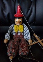 Vintage Hand Painted / Carved Folk Art Wooden Pinocchio Marionette Puppet. - $14.84