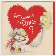 Vintage Valentine Card Terrier Dog Talks on Old Fashioned Telephone 1940s Gibson - $9.89