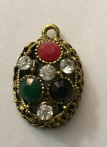 """Vintage Necklace Pendant Oval 1/2"""" Deep Black Red Green Clear Stones 1"""" H X 3/4"""" - $4.51"""