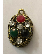 "Vintage Necklace Pendant Oval 1/2"" Deep Black Red Green Clear Stones 1"" ... - $4.51"