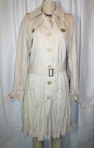 IVY JANE Womens Sz S Ivory Crinkle Mid Length Drop Waist Belted Coat - $63.99