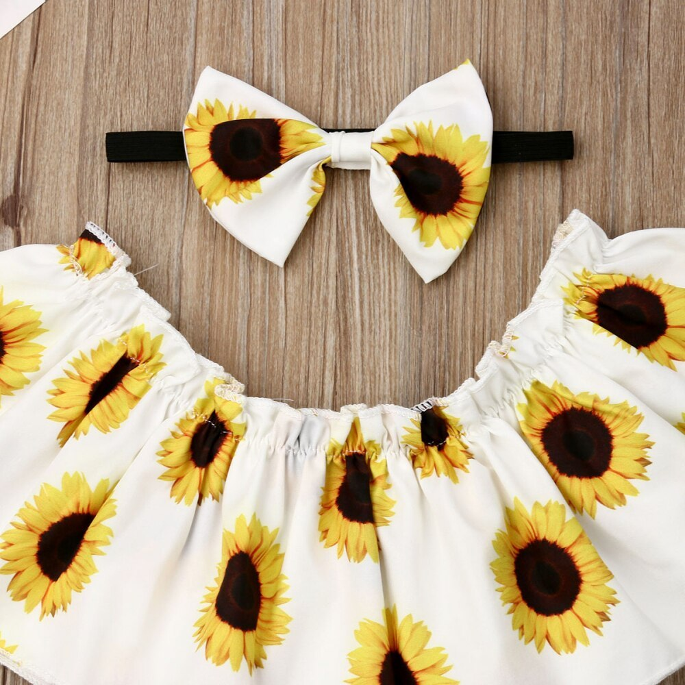 2019 Summer Sunflower Newborn Baby Girl Clothes 3Pcs Sunflower Ruffle Crop Tops+ image 5