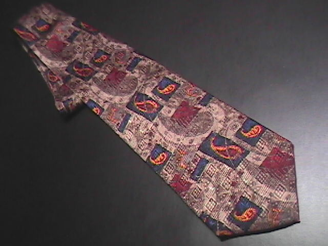 JZ Richards Silk Dress Neck Tie Muted Browns Dark Blues Chocolate Browns Golds J.Z. Richards
