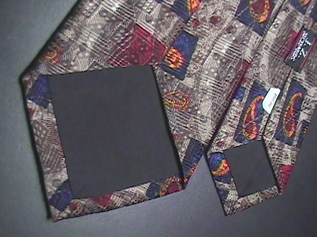 JZ Richards Silk Dress Neck Tie Muted Browns Dark Blues Chocolate Browns Golds