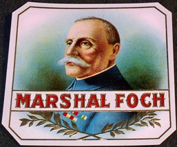 Marshal Foch Embossed Outer Cigar Label, 1920's - $4.99