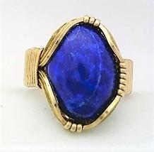 Lapis Brass Wire Wrap Gemstone Ring 9 - $10.28