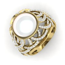 Cultured Freshwater Pearl Diamond Engagement Ring Anniversary Ring Gift ... - $599.99