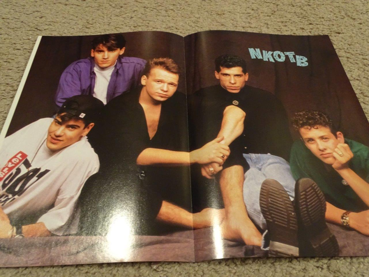 New Kids on the block teen magazine poster clipping double sided barefoot purple
