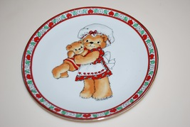 """Lucy Rigg Enesco Teddy Bear Plate Red Hearts 1979 Lucy and Me Mother Baby 7"""" - $10.95"""