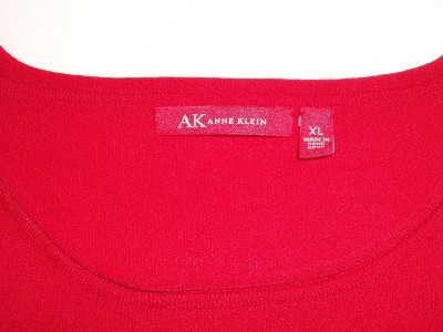 WOMEN LADIES ANNE KLEIN RED PARTY TOP XL EXTRA LARGE LONG SL